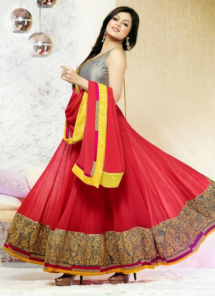 Aamna Sharif and drashti dhami In Latest anarkali suit designs 2013 (5)