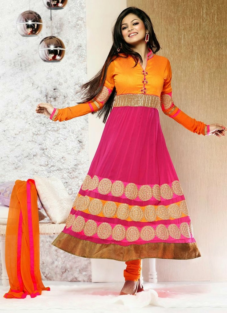 Aamna Sharif and drashti dhami In Latest anarkali suit designs 2013 (7)